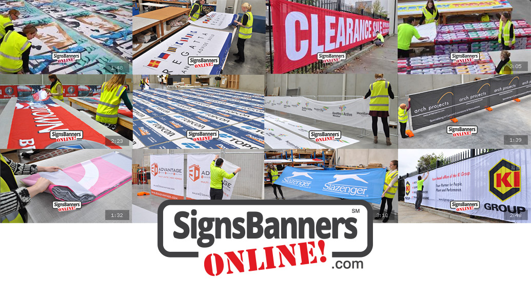 All banners and signs. Shows work produced by Signs Banners Online.